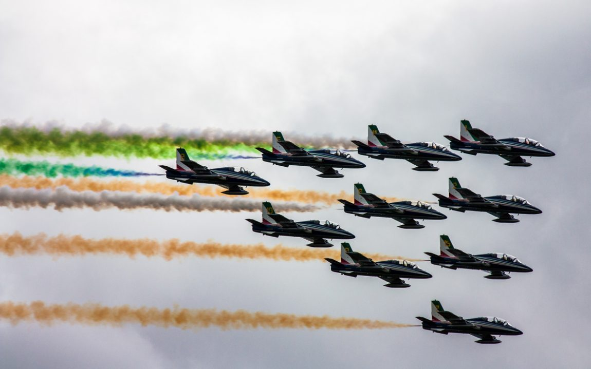 Ten planes fly in formation