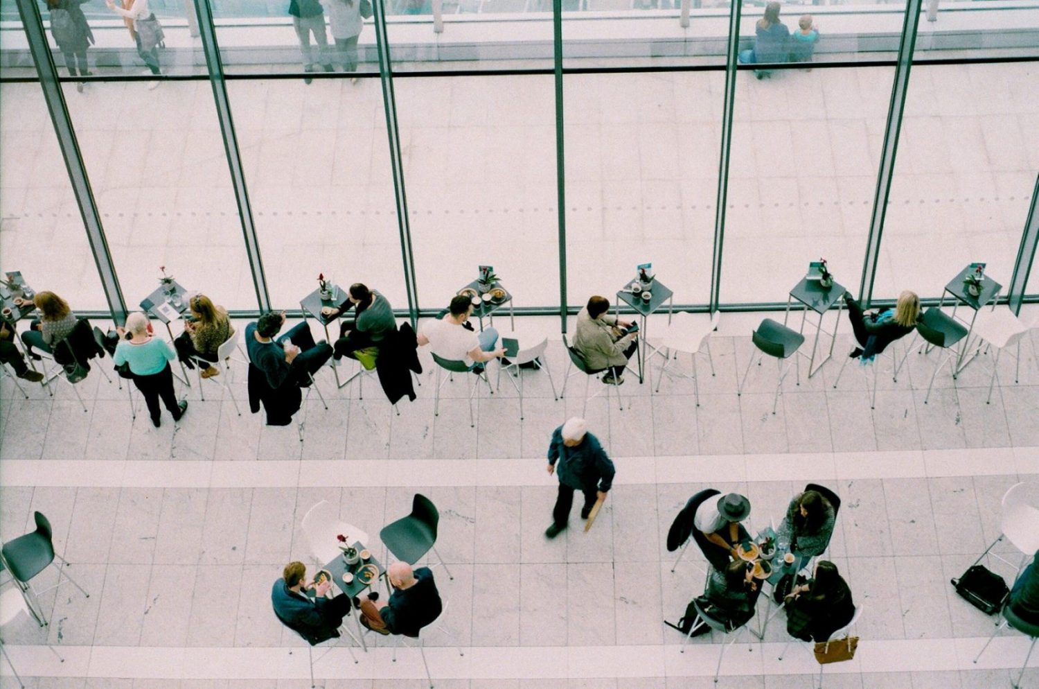People in meetings from above