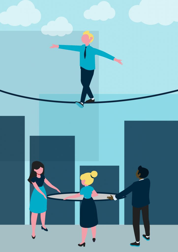 Businessman walks tightrope above his colleagues with a safety net