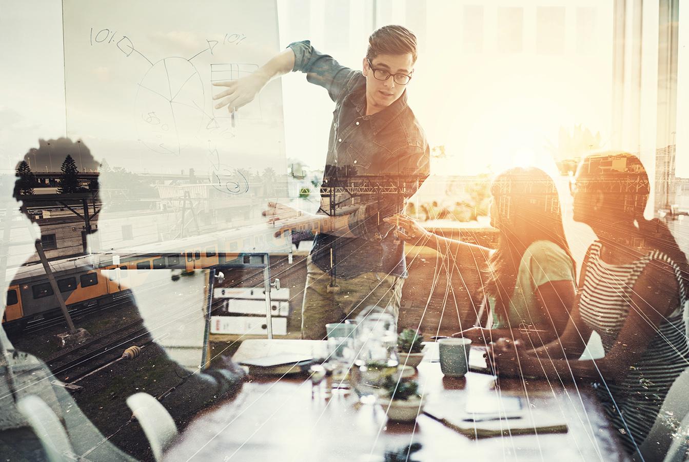 Sharing ideas at a meeting
