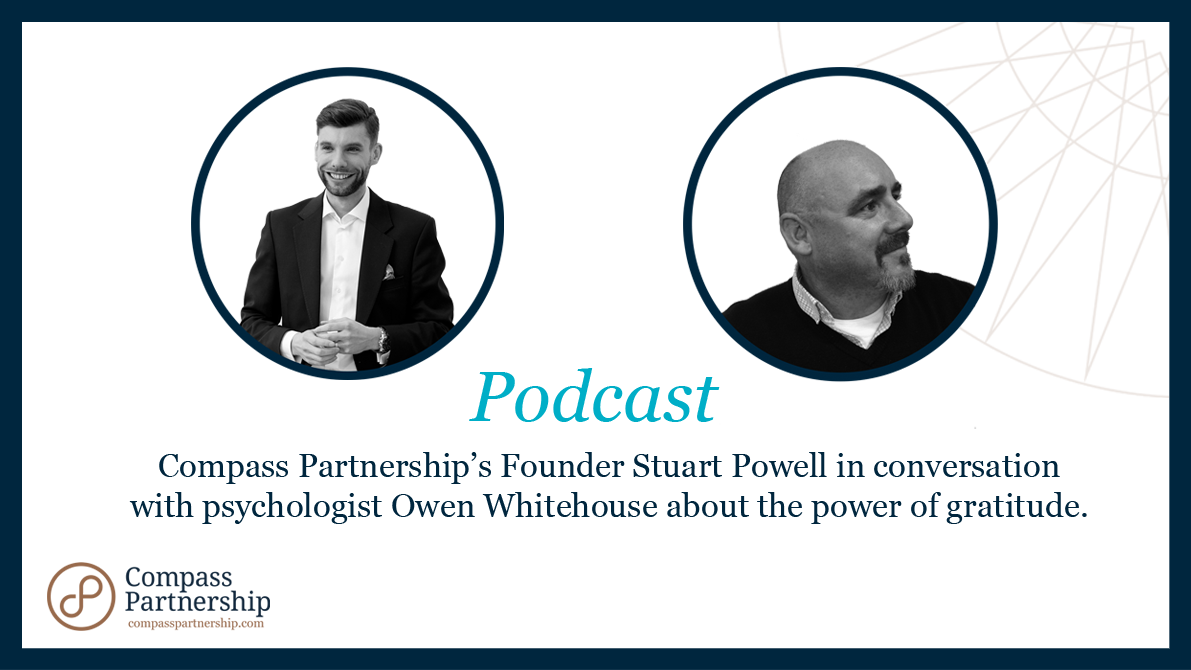 Resilience Podcast - A photograph of Stuart Powell and Owen Whitehouse as they discuss the power of gratitude